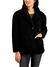 Juniors' Faux-Fur Teddy Coat