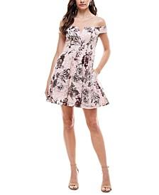 Juniors' Foil Lace Off-The-Shoulder Fit & Flare Dress