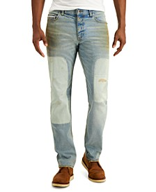 Men's Yokel Patched Straight Fit Jeans, Created for Macy's