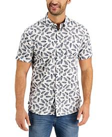 Men's Poplin Leaf Toss Shirt, Created for Macy's