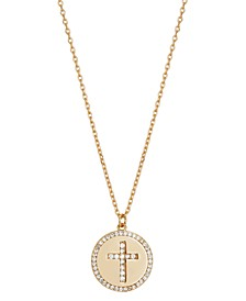 """Gratitude & Grace Gold Plated Cubic Zirconia Cross Disc Pendant Necklace in Gold-Flash, 16"""" + 2"""" extender"""