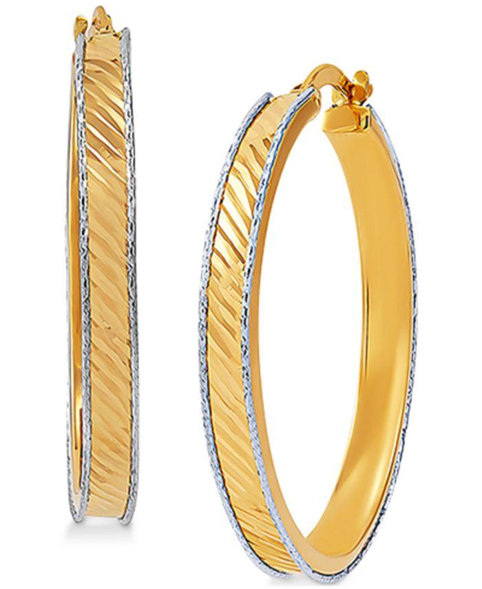 Macy's - Medium Textured Two-Tone Hoop Earrings in 14k Gold & White Gold