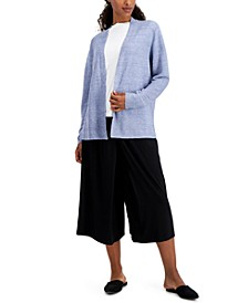 Organic Linen Open-Front Cardigan, Regular & Petite
