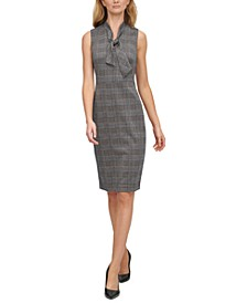 Ponté-Knit Plaid Tie-Neck Dress