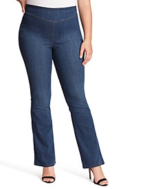 Trendy Plus Size Pull-On Flare Jeans