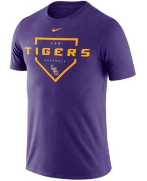 Nike Men's Lsu Tigers Dri-Fit Cotton Baseball Plate T-Shirt