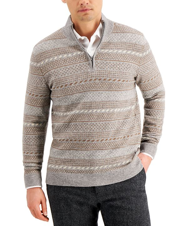 Tasso Elba Men's Intarsia Cashmere Sweater, Created for Macy's