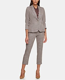 Elbow-Patch Blazer, Abstract-Print Top & Ankle Pants