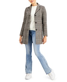 Juniors' Plaid Walker Coat, Created for Macy's