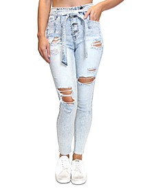 Juniors' High Rise Destructed Belted Skinny Jeans