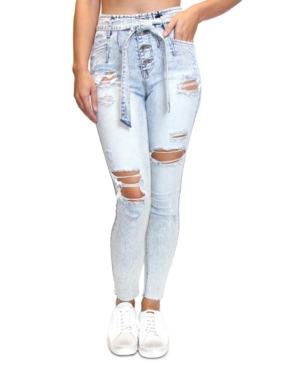 Almost Famous JUNIORS' HIGH RISE DESTRUCTED BELTED SKINNY JEANS