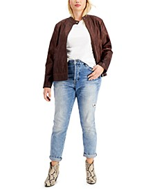 Juniors' Trendy Plus Size Faux-Leather Jacket