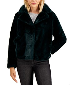 Juniors' Notch-Collar Faux-Fur Jacket