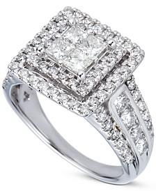 Diamond Princess Quad Cluster Halo Engagement Ring (2 ct. t.w.) in 14k White Gold