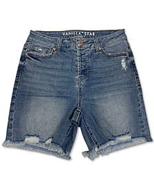 Juniors' Cotton Ripped Denim Bermuda Shorts
