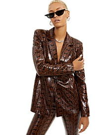 Faux-Snakeskin Blazer, Created for Macy's