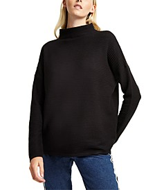 Mock-Neck Drop-Shoulder Knit Sweater