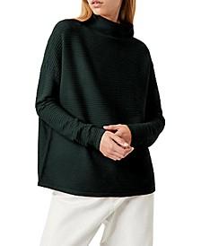 Mock-Neck Drop-Shoulder Knit Sweater