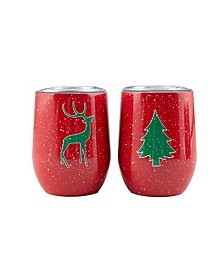 2 Pack Of 12 Oz Holiday Wine Tumblers
