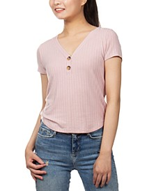 Juniors' Button-Detail V-Neck Top