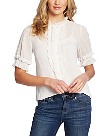 Ruffled Short-Sleeve Blouse
