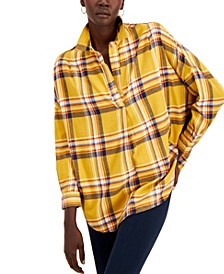 Rhodes Cotton Checked Popover Top