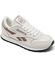 Women's Classic Leather Leopard Casual Sneakers from Finish Line