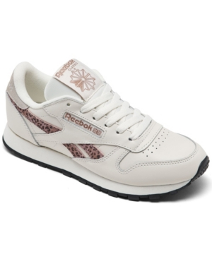 Reebok WOMEN'S CLASSIC LEATHER LEOPARD CASUAL SNEAKERS FROM FINISH LINE
