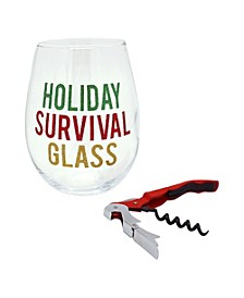 TMD Holiday Survival Glass Oversized Wine Glass with Opener