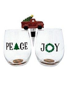 TMD Peace and Joy Set of 2 Stemless Wine Glasses with Ceramic Truck Wine Stopper