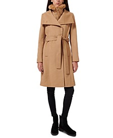 Faux-Fur-Lined Belted Wrap Coat