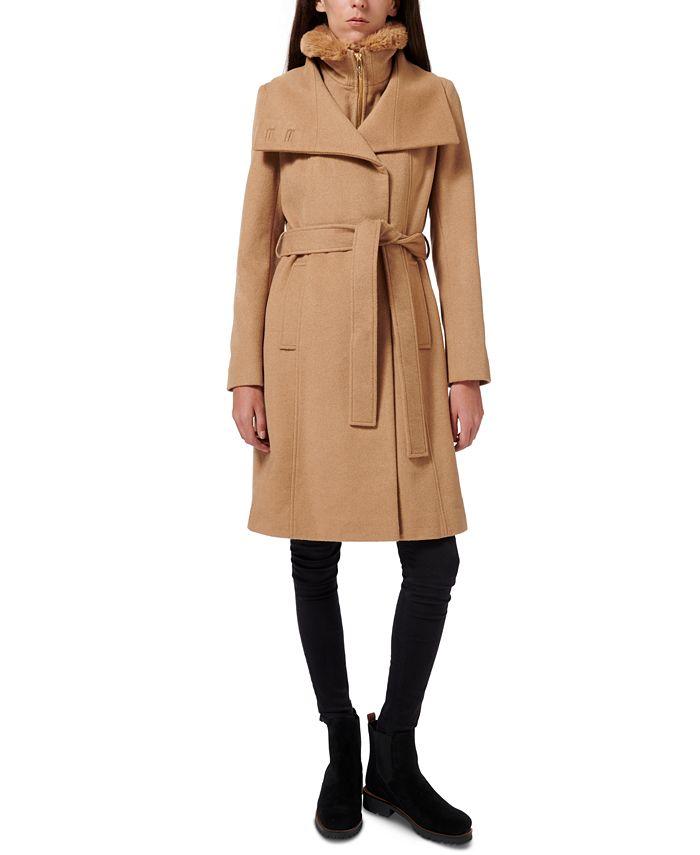 Sam Edelman - Faux-Fur-Lined Belted Wrap Coat