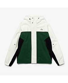 Men's Regular Fit Asymmetrical Colorblocked Waterproof Jacket with Hood