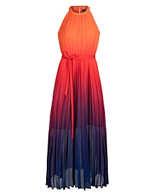 Pleated Ombré Chiffon Maxi Dress