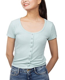 Juniors' Snap-Detail Cropped Top