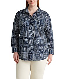 Plus Size Patch-Pocket Shirt