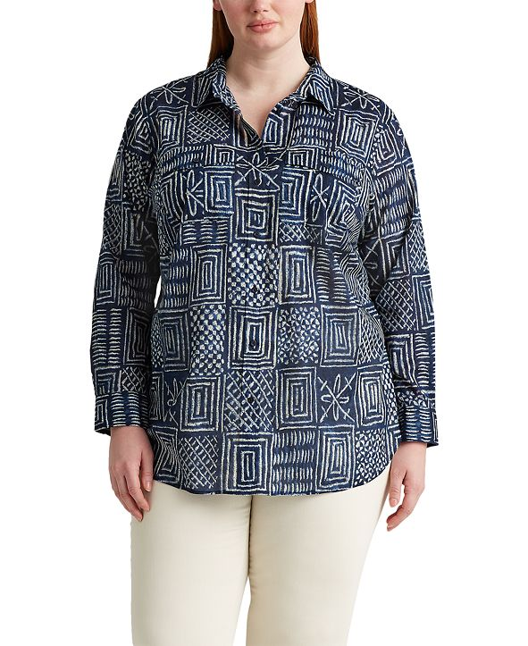 Lauren Ralph Lauren Plus Size Patch-Pocket Shirt