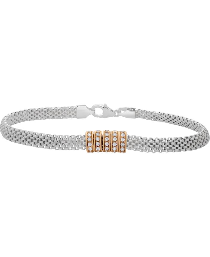 Macy's - Cubic Zirconia Ring Mesh Link Bracelet in Sterling Silver & Gold-Plate