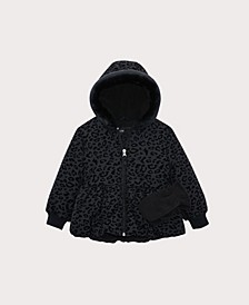 Little Girls Leopard Flocked Peplum Jacket with Mittens