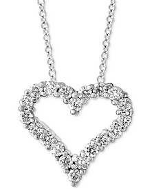 "EFFY® Diamond Heart 18"" Pendant Necklace (1/2 ct. t.w.) in 14k White Gold"