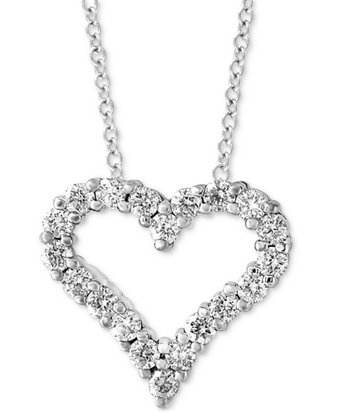 "EFFY Collection EFFY® Diamond Heart 18"" Pendant Necklace (1/2 ct. t.w.) in 14k White Gold"