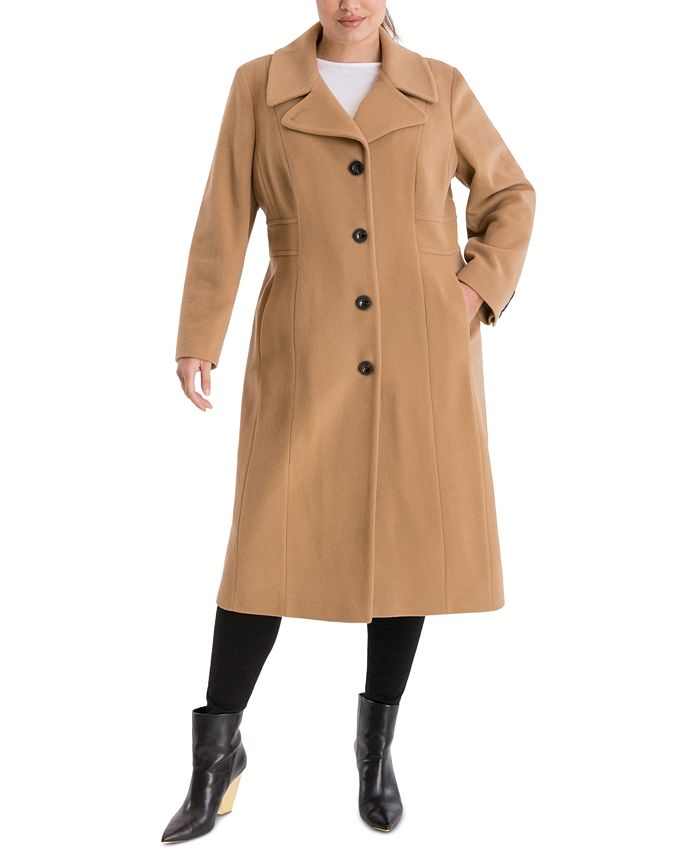 Anne Klein - Plus Size Single-Breasted Maxi Coat