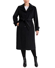 Plus Size Single-Breasted Belted Maxi Coat, Created for Macy's