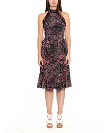 Paisley-Print Ruffle-Neck Midi Dress
