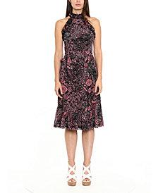 Michael Michael Kors Paisley-Print Ruffle-Neck Midi Dress
