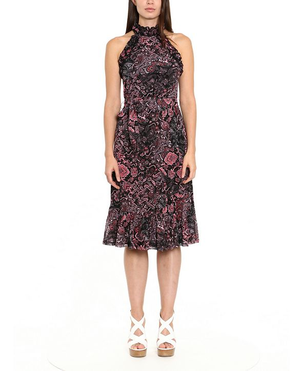 Michael Kors Paisley-Print Ruffle-Neck Midi Dress