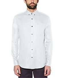 Men's Washed Linen Long Sleeve Button-Down Shirt