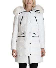 Faux-Fur-Trim Hooded Shine Puffer Coat