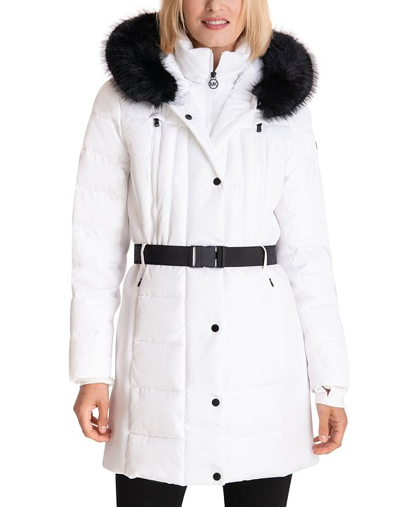 Michael Kors Belted Faux-Fur-Trim Hooded Puffer Coat