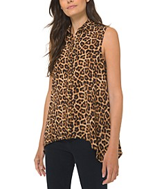 Leopard-Print Sleeveless Shirt